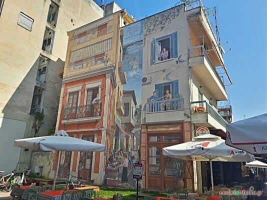 Παλιά Μανάβικα Τρίκαλα, τοιχογραφία στα Μανάβικα